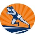 Marathon runner on track with sunburst vector image