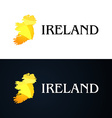 Golden Logo with Ireland Contour vector image vector image