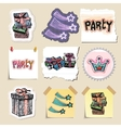 Hand drawn party and celebration emblems set vector image