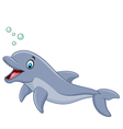 Cartoon happy dolphin isolated on white background vector image vector image