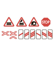 attention road signs warning railway vector image