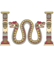 Aztec god as a snake between columns vector image