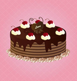 Chocolate Cake With Cherries vector image