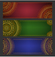 Colorful ethnic banners with lace ornament vector image