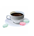Fresh Coffee cup with macaroons dessert vector image