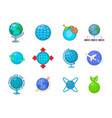 globe icon set cartoon style vector image