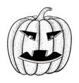 halloween pumpkin black and white hand drawn vector image