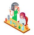 isometric children teenager hairdresser character vector image