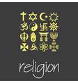 world religions symbols set of green icons eps10 vector image