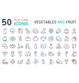 Vegetables and Fruit Line Icons 2 vector image