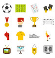 soccer football icons set in flat style vector image