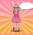 pop art girl in mothers shoes and sunglasses vector image