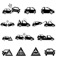 Icons set of car accident vector image