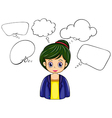 A serious business girl with many empty callouts vector image vector image