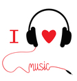 Headphones with red cord and heart I love music vector image