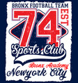american football athletic new york varsity sport vector image