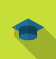 Flat icon graduation cap with long shadow style vector image