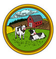 rural landscape in circle vector image