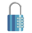 secure metal lock with numeric code and blue vector image