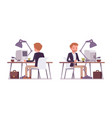 set of dandy sitting at the desk rear front view vector image