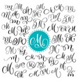 set of hand drawn calligraphy letter m vector image
