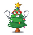 super hero christmas tree character cartoon vector image