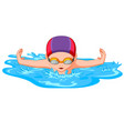 swimmers during swimming for sport competition vector image