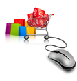 Background with shopping color bags and shopping vector image vector image