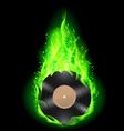 Vinyl disc in green fire vector image
