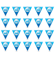 Set of 20 cars wit signs triangular map pointer vector image