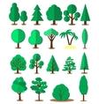 Flat tree set isolated on white background vector image