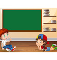 Boy and girl learning in classroom vector image