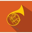French horn flat icon vector image
