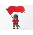Man with red flag cartoon vector image