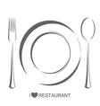Restaurant 1 plate fork spoon vector image