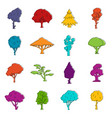 trees icons doodle set vector image