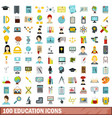 100 education icons set flat style vector image