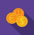 Flat design coins icon with long shadow vector image