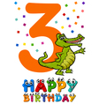 third birthday cartoon card vector image