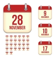 November calendar icons vector image