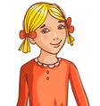 Teenager cartoon girl with blond hair and hair sty vector image vector image