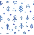 Watercolor seamless pattern with blue snowflakes vector image vector image