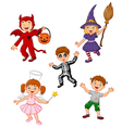 Cartoon kids wearing Halloween costume collection vector image