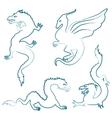 Hand drawn dragon silhouettes set vector image