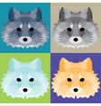 Low poly foxes set vector image