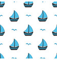 pattern with boat and gull vector image