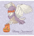 Cute winter Christmas card of an owl in a hat vector image