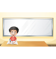 A boy writing on a paper with a blank board vector image vector image