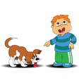 Boy and dog vector image