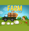farm scene with farmer and sheeps vector image